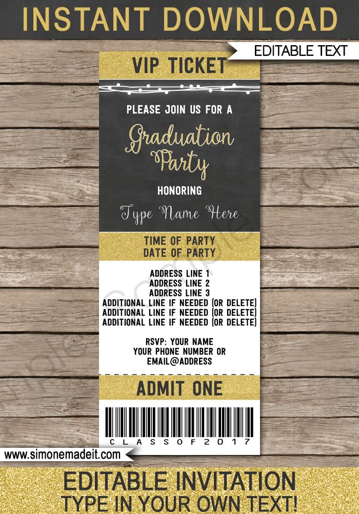 Graduation Party Ticket Invitations Template | Class of 2017