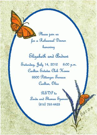 Monarch Butterfly Rehearsal Dinner Invitations