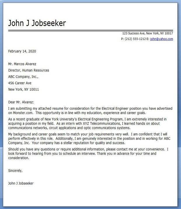Electrical Engineering Cover Letter Examples | Creative Resume ...
