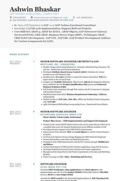 Ingénieur Logiciel Senior Exemple de CV - Base de données des CV ...