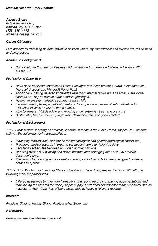 Medical Clerk Sample Resume 13 16 Free Medical Assistant Resume ...