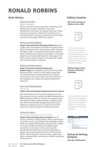 Technical Writer Resume samples - VisualCV resume samples database