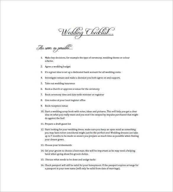 Wedding To Do List Template - 8+ Free Word, Excel, PDF Format ...