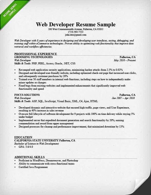 Web Developer Resume Sample & Writing Tips | RG