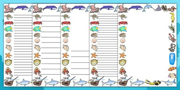 Under the Sea Page Borders - page border, border, frame, writing