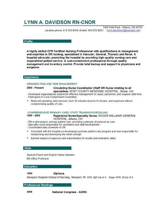 Rn Resume Templates. Top 7 Resume Hints For New Grad Nurses Best ...