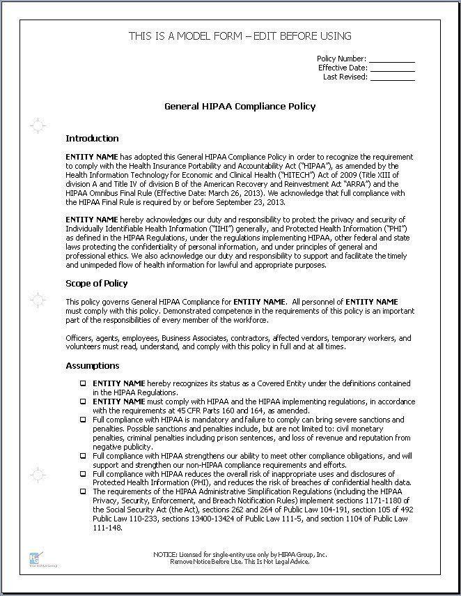 Hipaa Policy Template | Template Design