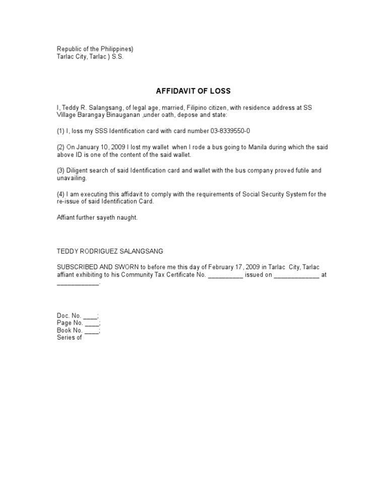 Sample Affidavit Of Loss In The Philippines   Create professional ...
