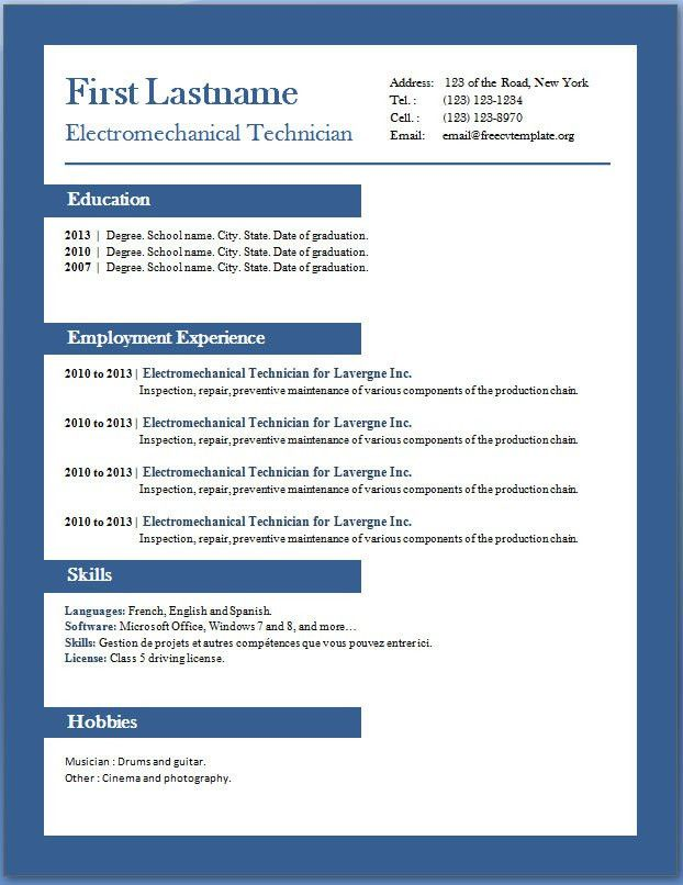 Professional Resume Template Word 2010 | haadyaooverbayresort.com