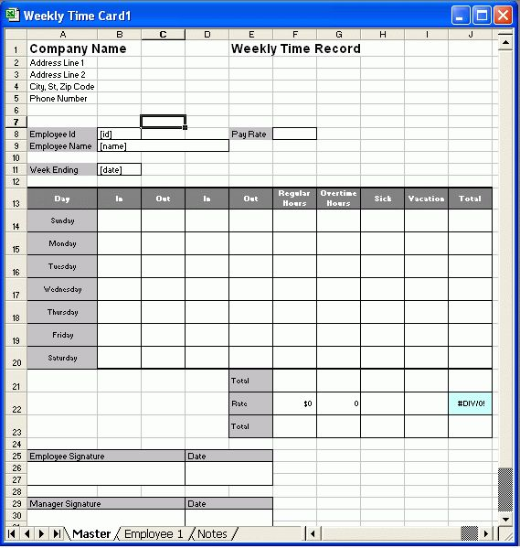 7+ weekly time card template free - Budget Template Letter