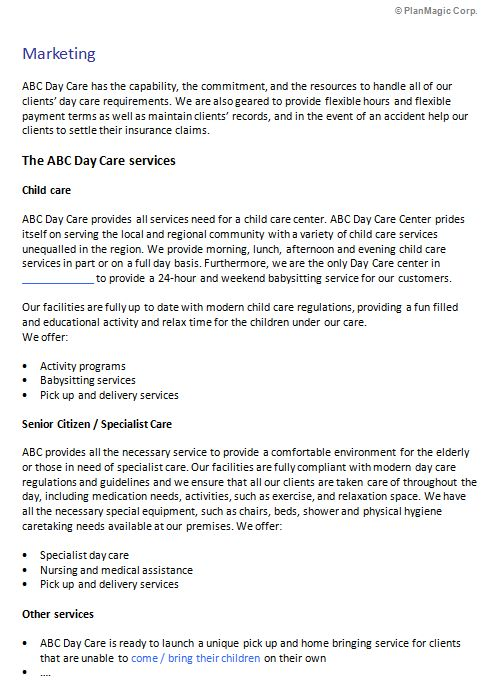 Child/Day Care Center Business Plan Template | Business Plan Templates