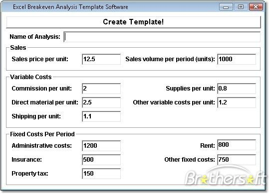 Download Free Excel Breakeven Analysis Template, Excel Breakeven ...