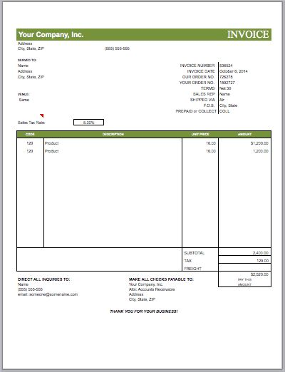 Invoices in MS Excel | Free Invoice Templates