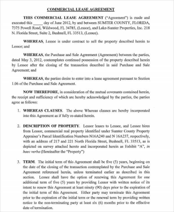 Sample Standard Commercial Lease Agreement - 7+ Examples in Word, PDF