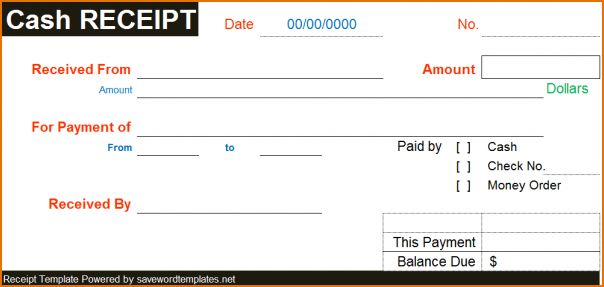 4+ cash receipt template word   Printable Receipt