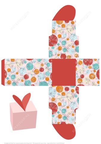 Favor Gift Box Template with Herbs and Heart on the Top   Free ...