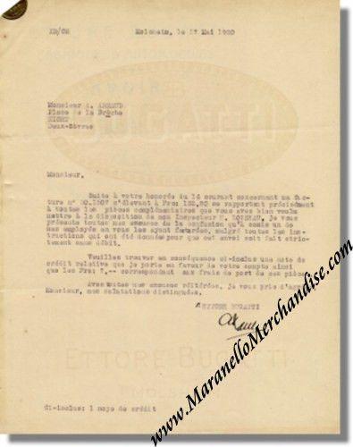 1930 Bugatti Molsheim Letter with Credit Note