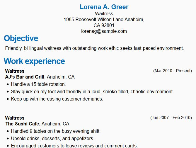 waitresswaitress template fresh waitress resume sample template ...