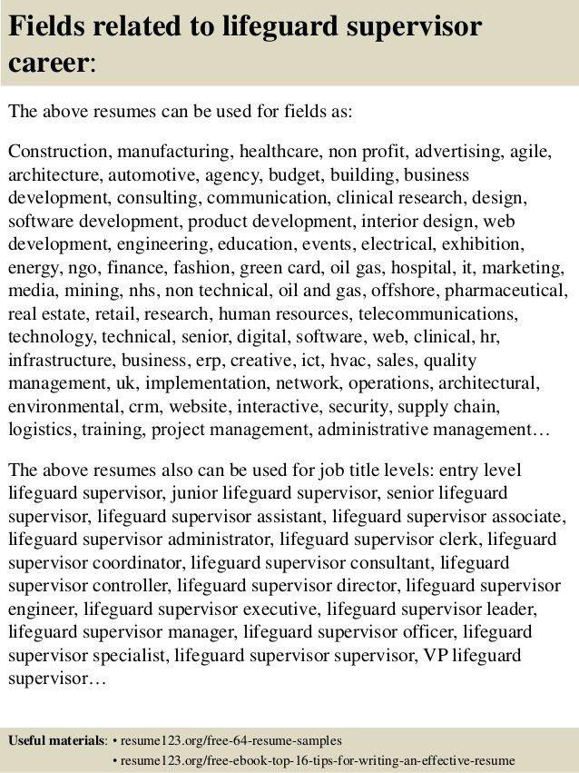 Top 8 lifeguard supervisor resume samples