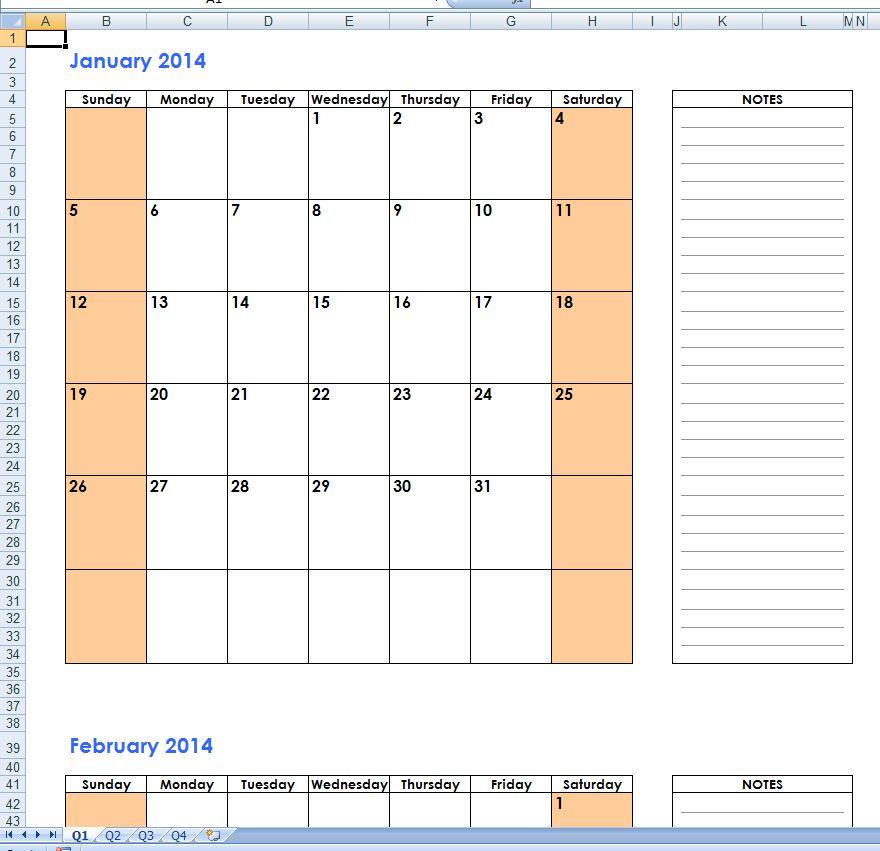 Free 2014 Excel Calendar Templates