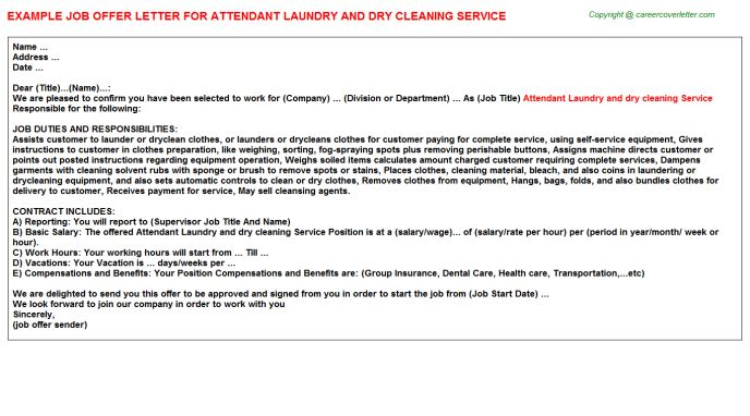 Attendant Laundry And Dry Cleaning Service Offer Letter
