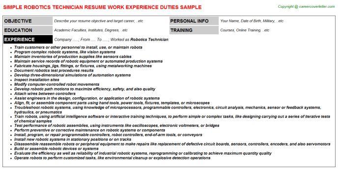 Robotics Technician Resume Sample