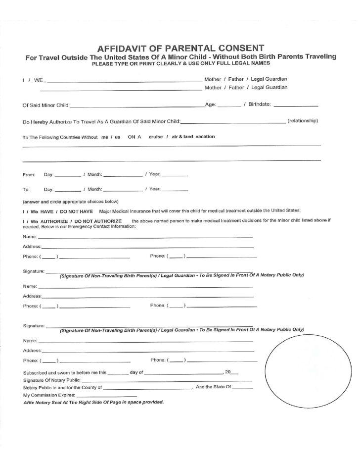 Affidavit for Parental Consent Form Free Download
