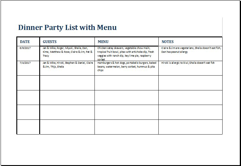 Dinner Party List with Menu Template for Excel | Excel Templates