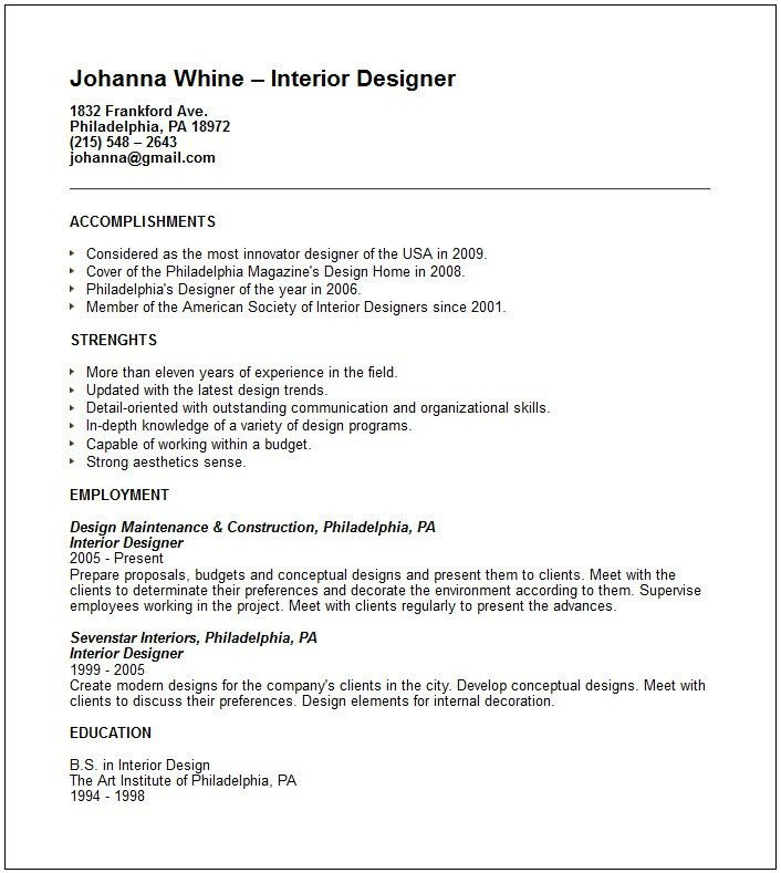28 interior designers resume sample interior design resume - Interior Design Resume Sample