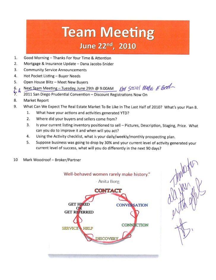Team Meeting Agenda. Real Estate Team Meeting Agenda Notes / March ...