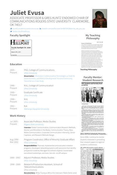 Associate Professor Resume samples - VisualCV resume samples database