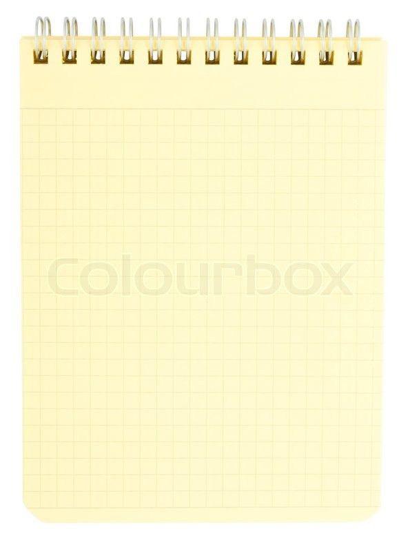 Yellow notepad isolated on white background | Stock Photo | Colourbox