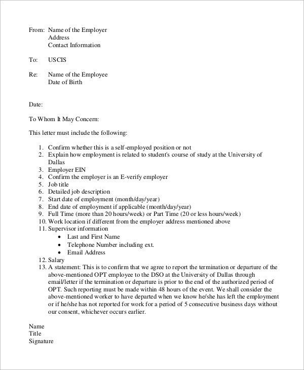 Employment Verification Letter Uscis | The Letter Sample