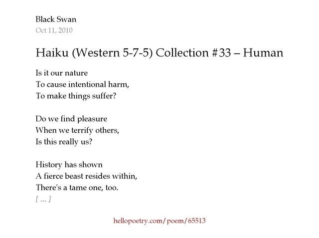 Haiku (Western 5-7-5) Collection #33 – Human Nature by Black Swan ...