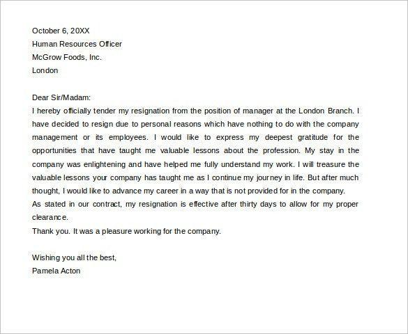 Employee Resignation Letter. Standard Notice Of Resignation Letter ...
