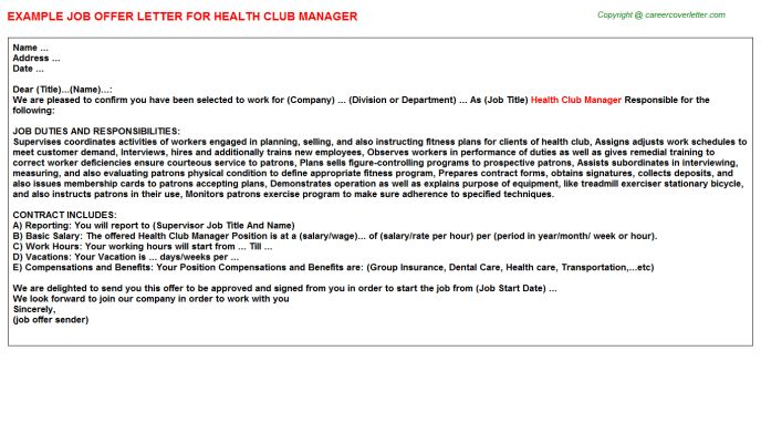 Health Club Manager Job Title Docs