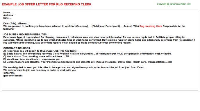 Rug Receiving Clerk Offer Letter