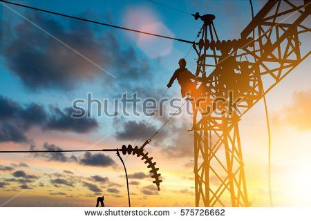 Silhouette Electrician Work Installation High Voltage Stock Photo ...