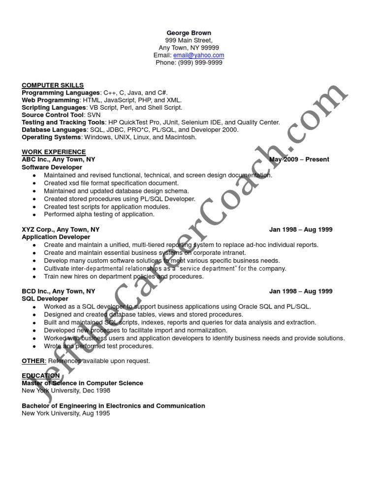 pl sql developer sample resume 3. pl sql resume sample 21 ...