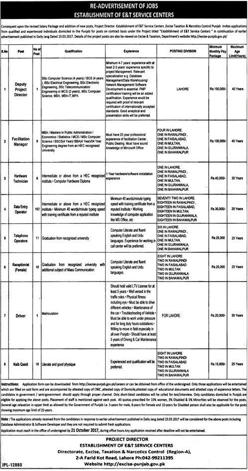 Excise and Taxation Department Jobs, Deputy Project Manager , Data ...