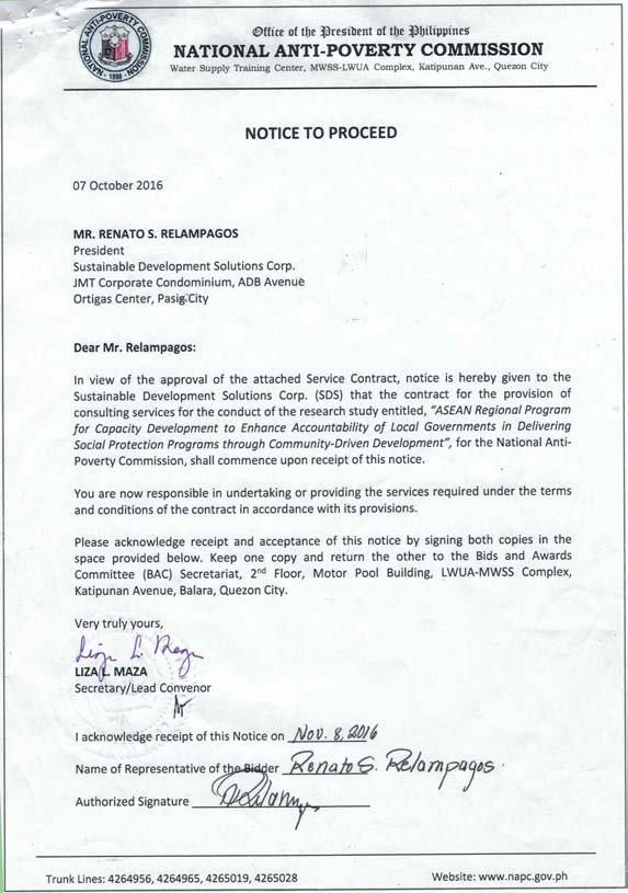 Notice to Proceed for Sustainable Development Solutions Corp ...