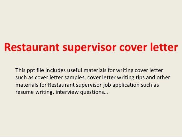 Cafe Supervisor Cover Letter