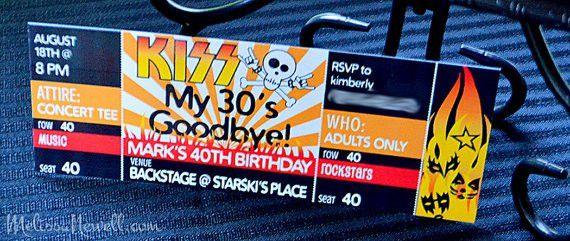 Birthday INVITE Rocker Party Concert Ticket INVITE KISS