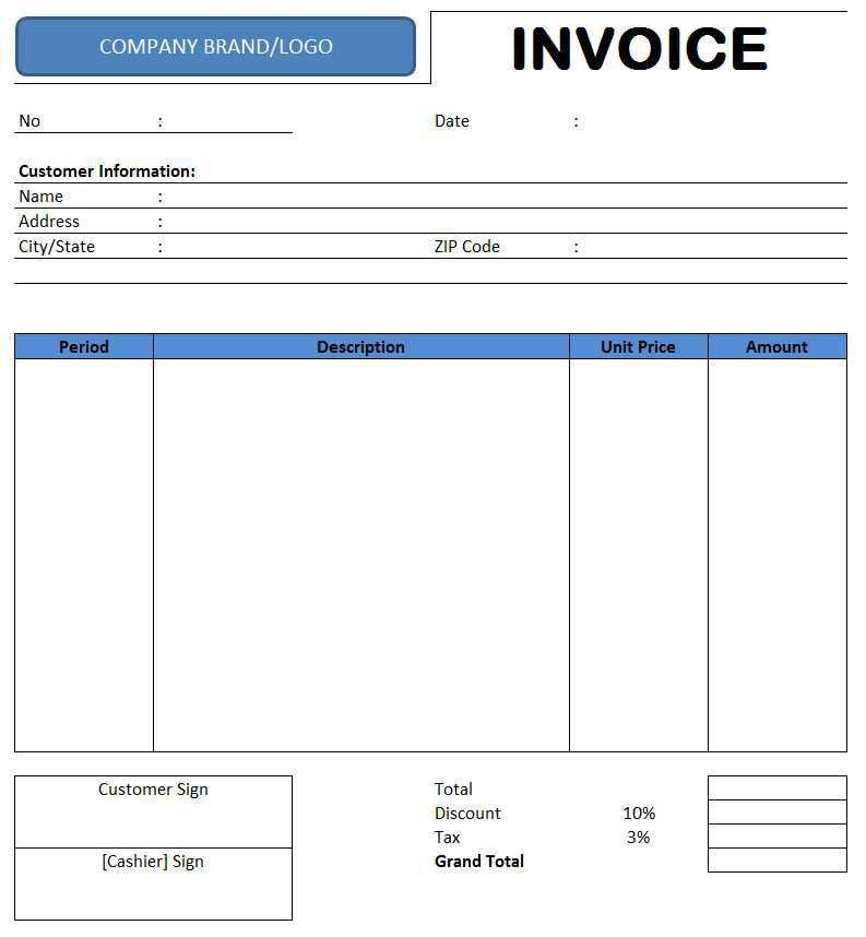 Rental Invoice Template - Free Excel Templates and Spreadsheets