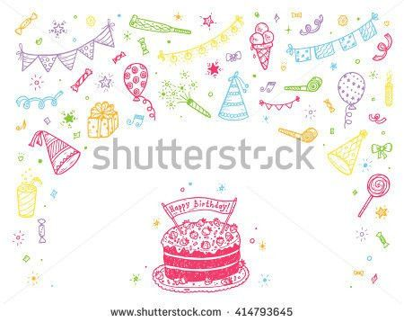 Birthday Party Elements Vector Set Happy Stock Vector 414793648 ...