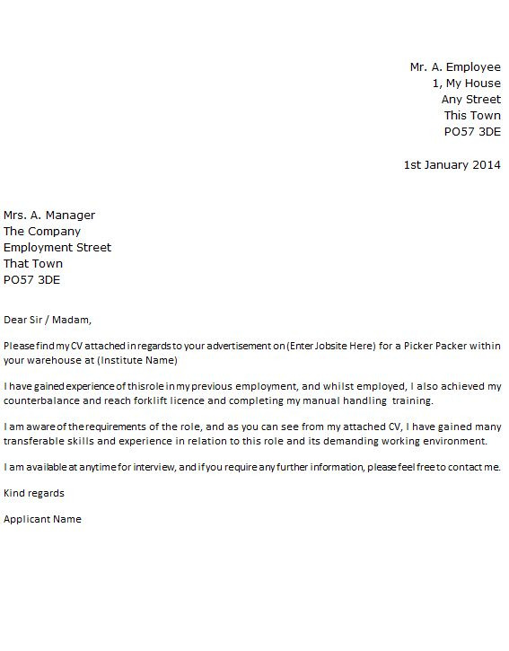 Picker Packer Job Application Cover Letter Example - forums ...