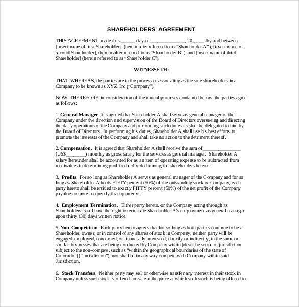 10+ Shareholder Agreement Templates – Free Sample, Example, Format ...