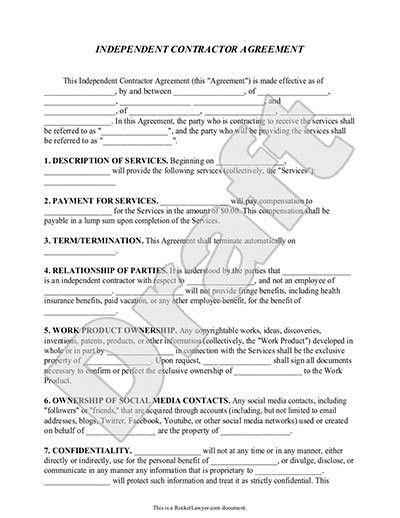 Independent Contractor Agreement Form, Template (with Sample ...