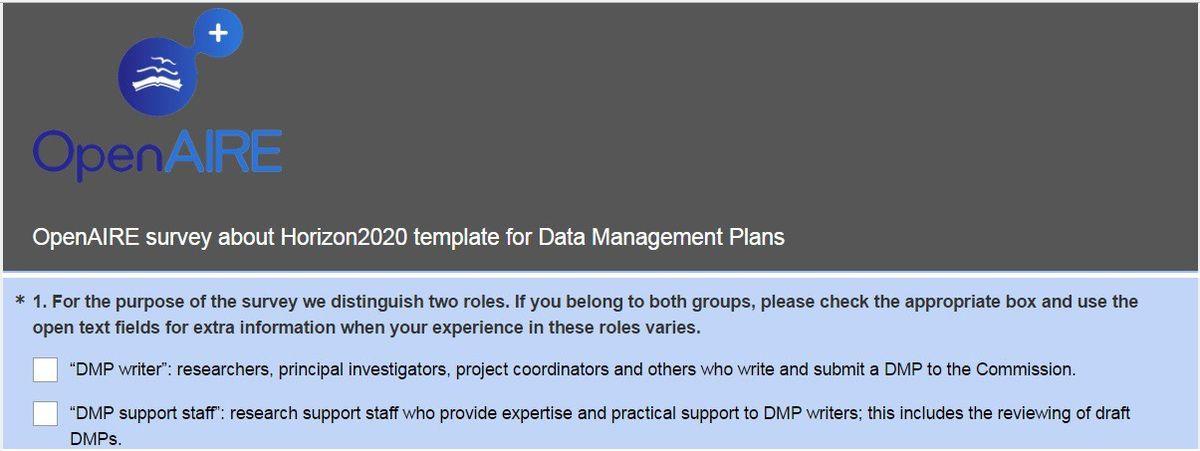 Survey on the Horizon 2020 template for Data Management Plans ...