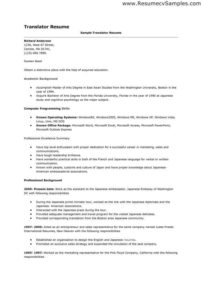 Translator Cv Sample Sample Resume Objective 37108   Plgsa.org